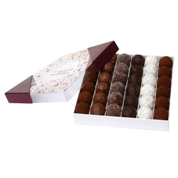 Boite_Carré_chocolats_Truffes_Assortiments_Jardin_des_Delices